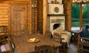 Интерьер дома из оцилиндрованного бревна — смотрим варианты