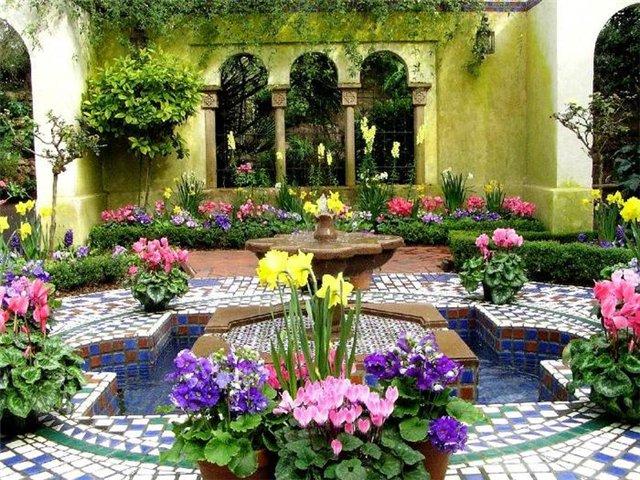 Дизайн двора частного дома - фото для примера 1