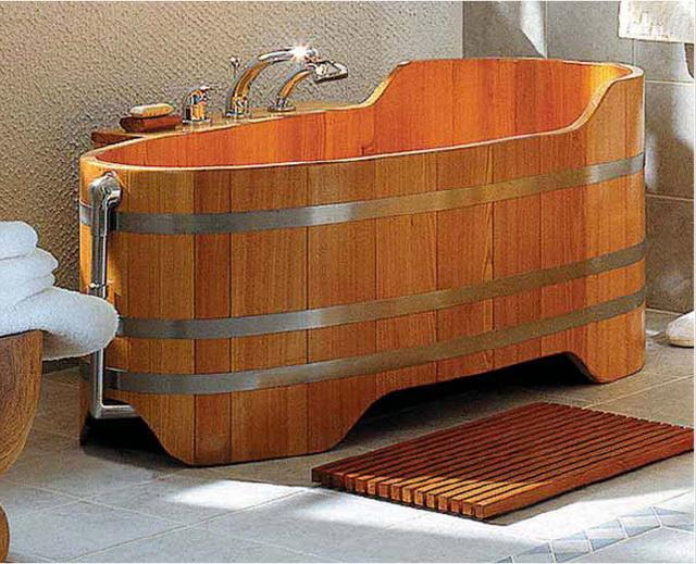 Дизайн ванной в деревянном доме 3