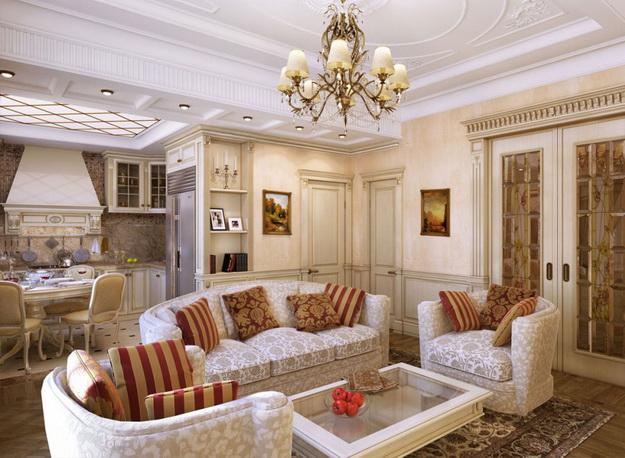 Интерьер гостиной в классическом стиле 2