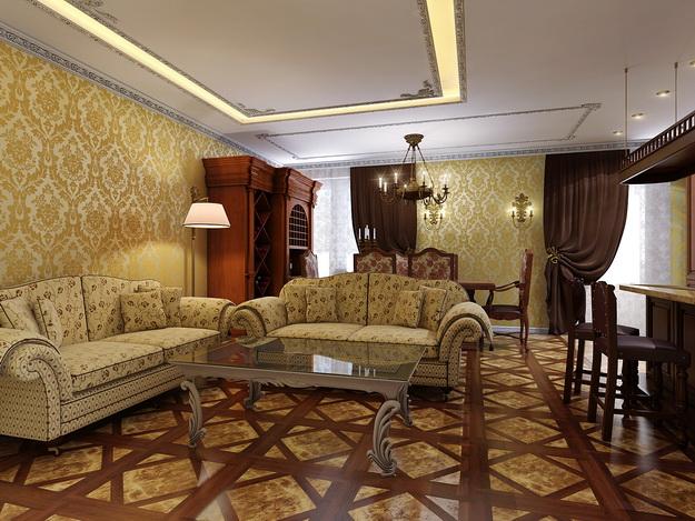 Интерьер гостиной в классическом стиле 3