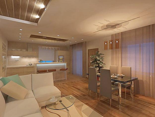 Дизайн гостиных, совмещенных с кухней, в частных домах 2