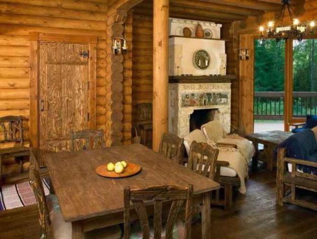 Интерьер дома из оцилиндрованного бревна - смотрим варианты 1