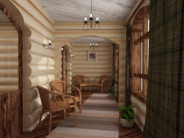 Интерьер дома из оцилиндрованного бревна - смотрим варианты 4
