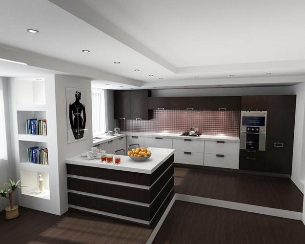 Хай-тек дизайн кухни гостиной на фото 2