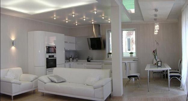 Хай-тек дизайн кухни гостиной на фото 3