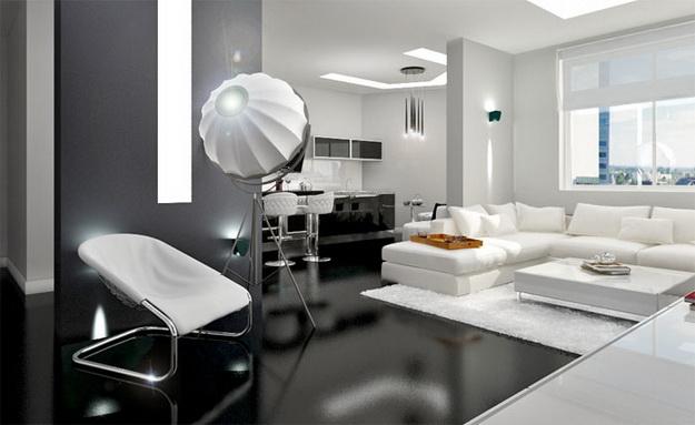 Хай-тек дизайн кухни гостиной на фото 4