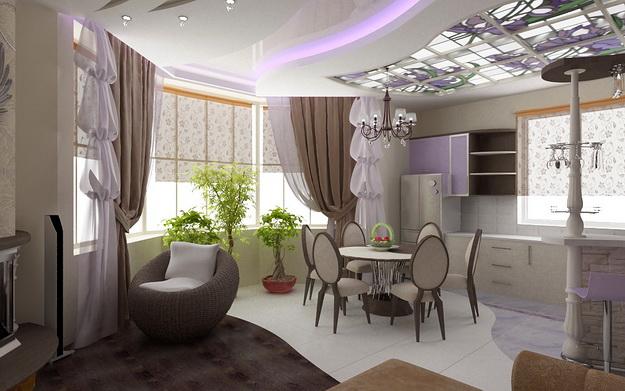 Интерьер кухни совмещенной с гостиной - практичная красота 5