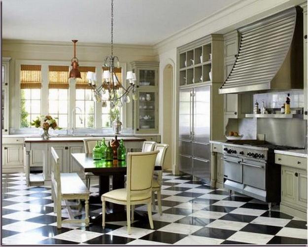 Интерьер кухни столовой в загородном доме 1