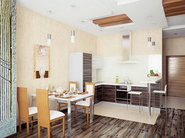 Интерьер кухни столовой в загородном доме 4