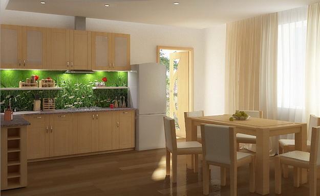 Интерьер кухни столовой в загородном доме 6