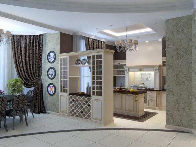 Интерьер кухни столовой в загородном доме 7