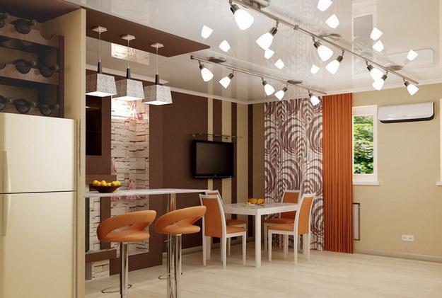 Интерьер кухни столовой в загородном доме 8