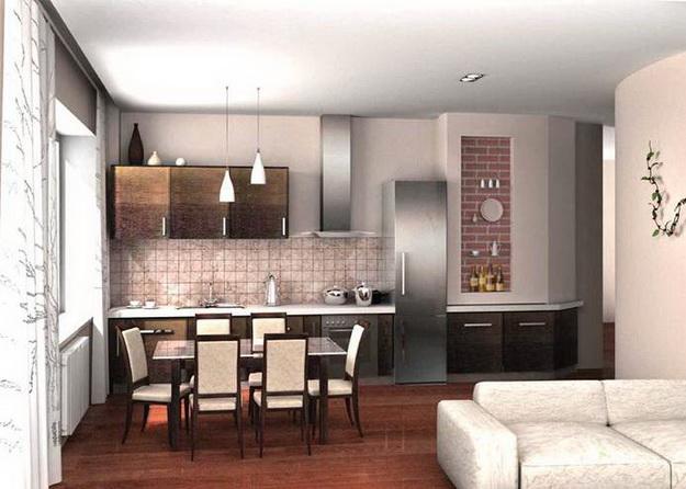 Современный дизайн кухни студии с вариантами 3