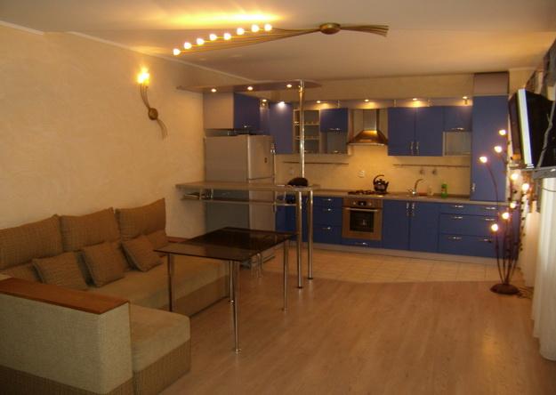 Современный дизайн кухни студии с вариантами 6