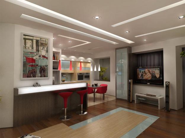 Современный дизайн кухни студии с вариантами 8