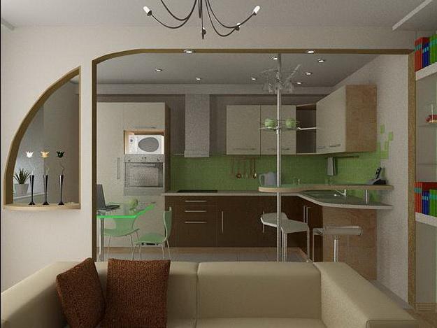 Интересный дизайн кухни студии в квартире 1