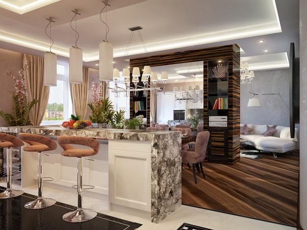 Интересный дизайн кухни студии в квартире 4