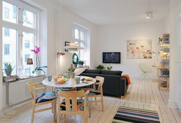 Скандинавский дизайн – кухни, совмещенные с гостиной 5