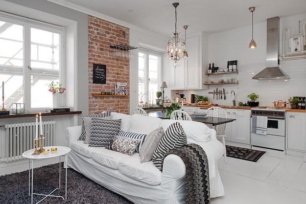 Скандинавский дизайн – кухни, совмещенные с гостиной 6