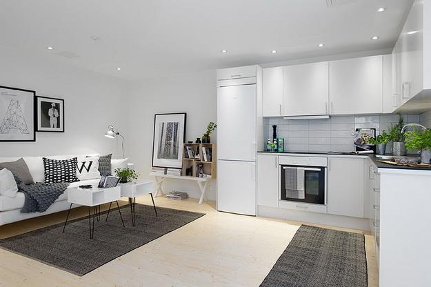 Скандинавский дизайн – кухни, совмещенные с гостиной 7