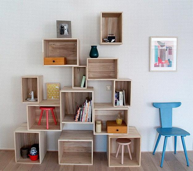Деревянные стеллажи для дома – дизайн и варианты с фото 7