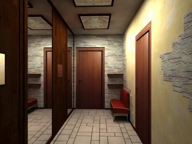 Отделка камнем в интерьере прихожей и коридора 5