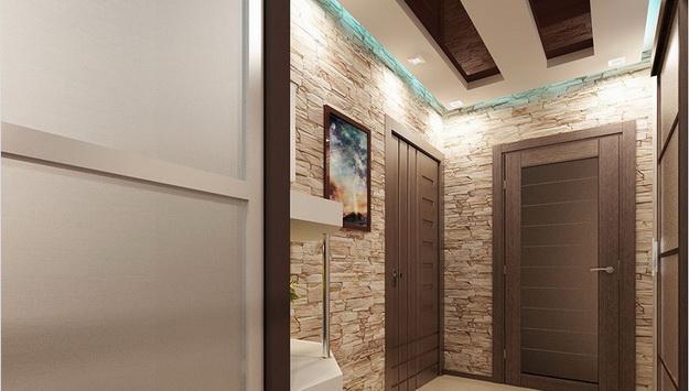 Отделка камнем в интерьере прихожей и коридора 8