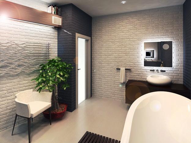 Интерьерная отделка стен под кирпичную кладку - варианты дизайна 6