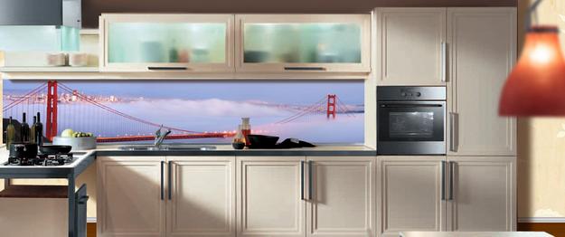 Дизайн стеклянных стеновых панелей для кухни 2