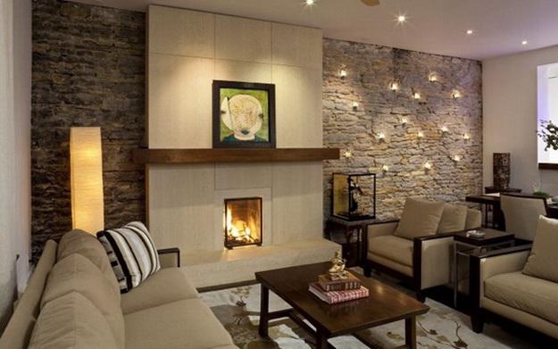 Отделка искусственным камнем гостиной в квартире 1
