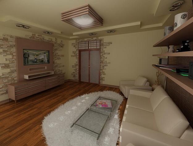 Отделка искусственным камнем гостиной в квартире 4