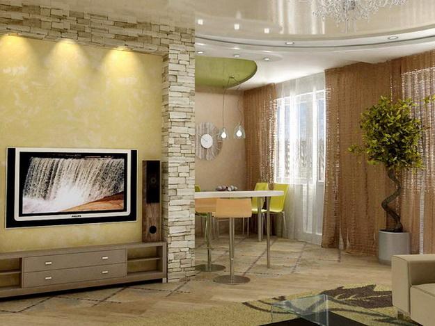 Отделка искусственным камнем гостиной в квартире 5