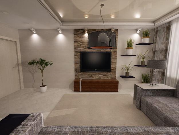 Отделка искусственным камнем гостиной в квартире 8