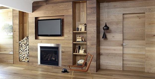 Стеновые панели из дерева в интерьере частного дома - варианты и дизайн 7