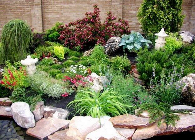 Ландшафтный дизайн с хвойными растениями перед частным домом 2