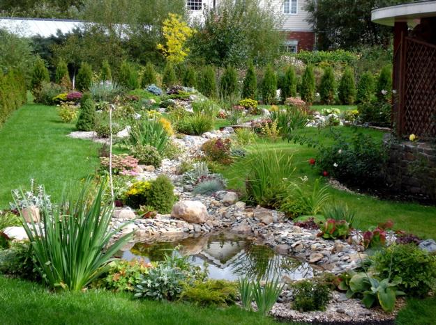 Ландшафтный дизайн с хвойными растениями перед частным домом 4