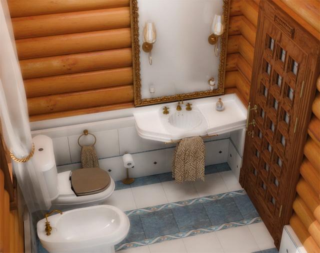 Дизайн ванной в деревянном доме 10