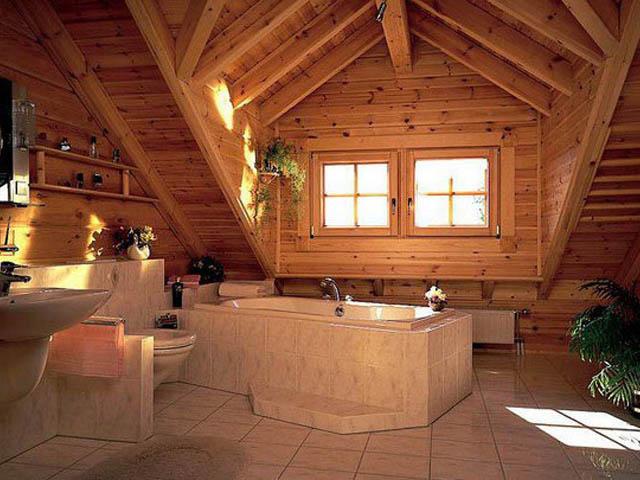Дизайн ванной в деревянном доме 8