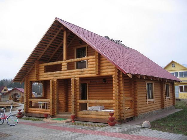 Дома из оцилиндрованного бревна фото А