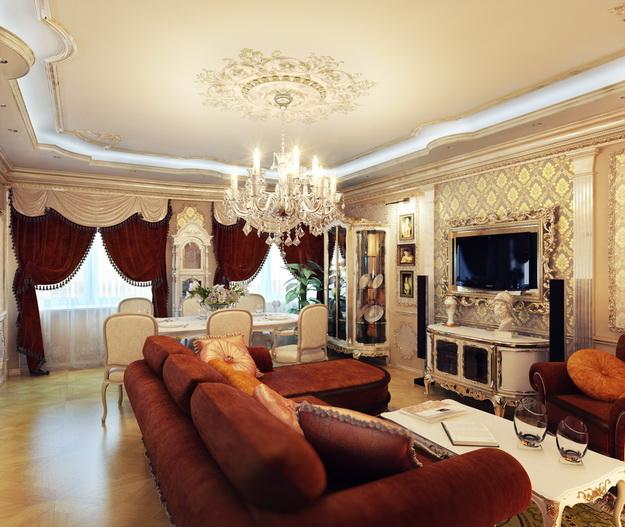 Интерьер гостиной в классическом стиле 4