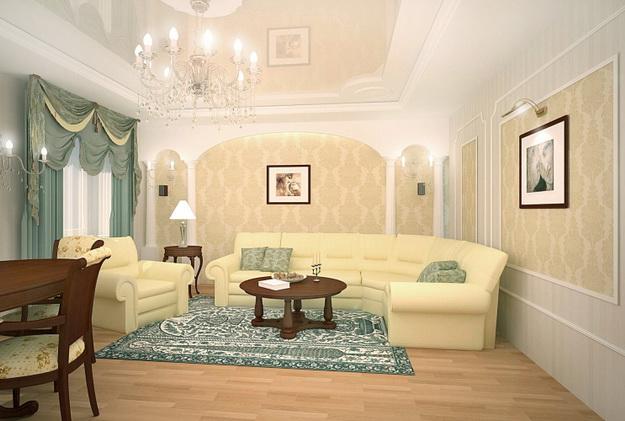 Интерьер гостиной в классическом стиле 5