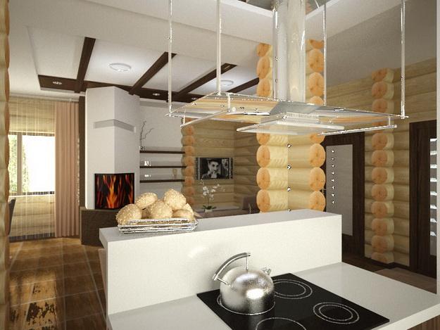 Дизайн гостиных, совмещенных с кухней, в частных домах 5
