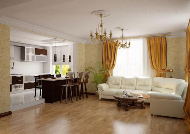 Дизайн гостиных, совмещенных с кухней, в частных домах 6