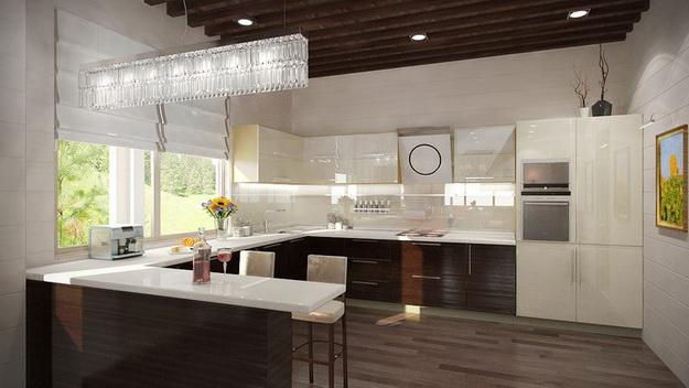 Дизайн гостиных, совмещенных с кухней, в частных домах 7