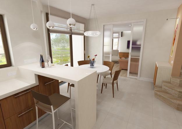 Дизайн гостиных, совмещенных с кухней, в частных домах 8