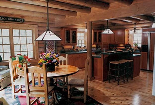 Интерьер дома из оцилиндрованного бревна - смотрим варианты 5