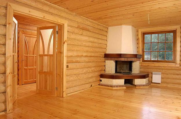 Интерьер дома из оцилиндрованного бревна - смотрим варианты 7