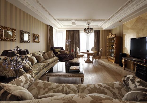 Классические интерьеры гостиных в современных квартирах 1