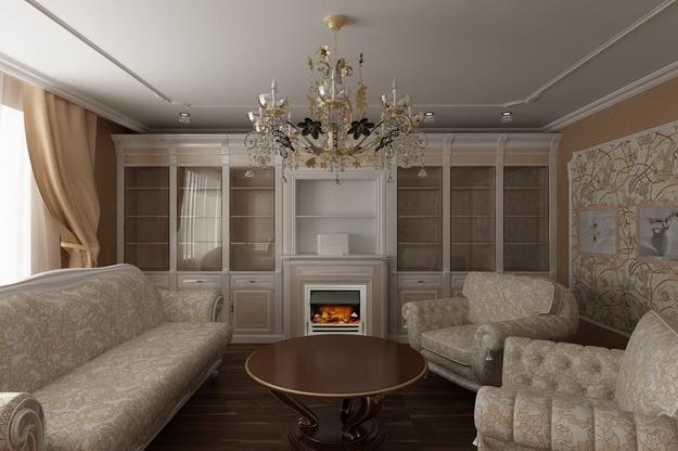 Классические интерьеры гостиных в современных квартирах 7